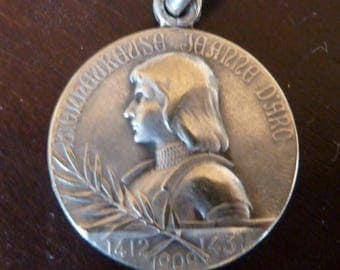 Joan of Arc  Antique Catholic  Religious French Medal  /  Basilica Domremy  Signed  A. Lavrillier Old Pendant Charm Vintage Jewelry