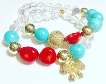 Pave bracelet with coral beads