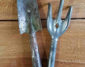 Vintage Garden Tools Aluminum Three Tine Hand Cultivator Tool  with shovel
