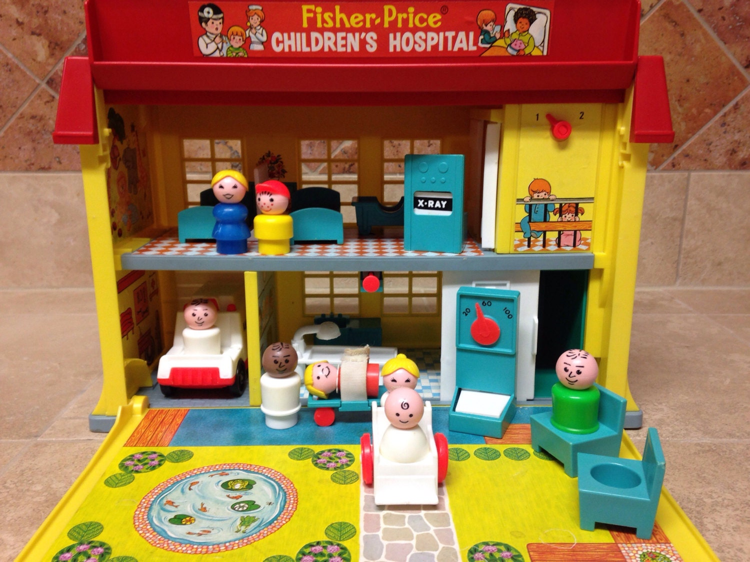 Vintage Fisher Price Little People Play Family Hospital