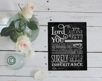 Scripture Art - Psalm 16:5-6 ~ Chalkboard Style