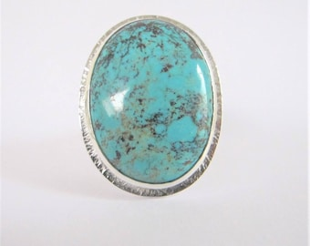 Large hammered sterling silver Turquoise seertie ring