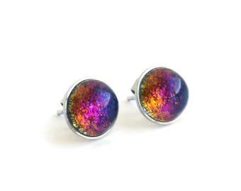 Surgical steel studs - unicorn earrings - ear studs - dichroic earrings - modern stud earrings - purple earrings - rainbow earrings