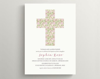 Baptism Invitation \ Christening Invite \ Holy Cross \ Holy Communion Invite \ Printable Invitation  \ Girl Baptism (CH23)