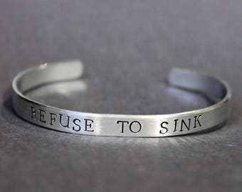 Refuse To Sink Bracelet, Inspirational Jewelry, Mantra Nautical Quote Cuff Bracelet, Encouragement Beach Jewelry, Motivational Band