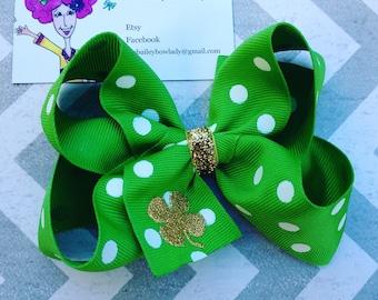 St. Patrick's Day Hair Bow-Shamrock Hair Bow-Clover Hair Bow