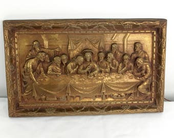 Vintage Mid Century Gold Gilt Wood 3D Wall Plaque Carving - Jesus Last Supper Disciples - Religious Home Decor Catholic Christian Spiritual