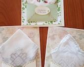 RESERVED FOR GABRIELLA Wedding Handkerchief Set Keepsake Gift Mother Of The Bride Card