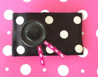 hair barrette hair accessory hair clip hair bow - barrette with black and white ribbon, pink ribbon and black button