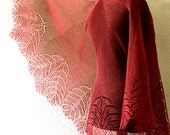 RESERVED Handknitted lace linen shawl - in 401 colour