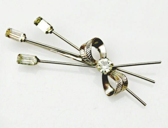 Rhinestone hair clip - silver bling flower barrette - floral bobby pin - Wedding bride