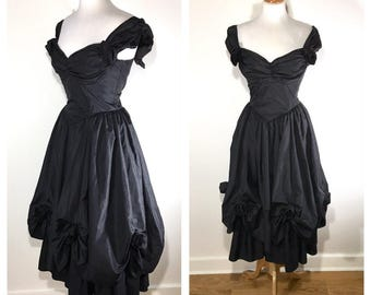 1980s Black Taffeta Party Dress Short Sleeve Cap Sleeve Off The Shoulder Midi Cocktail Dress Wedding Guest Dress Fit and Flare Evening Dress