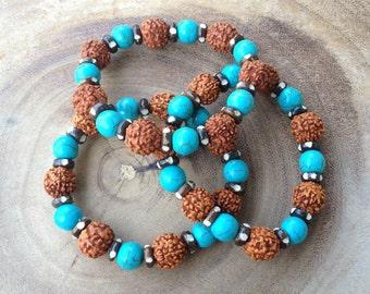 Rudraksha Turquoise Bracelet, Healing Bracelet, Yoga Jewelry, Meditation Bracelet, Mala Layering Bracelet Stretch Bracelet Friendship