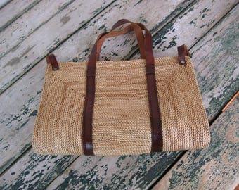 1980's Twisted Fiber and Leather Handbag// Rectangular//