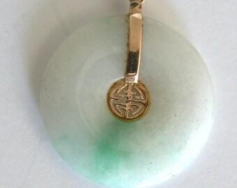 """Vintage Estate 14KT Gold  Jade Pendant Natural JADEITE """"Good Luck"""""""