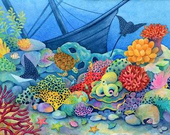 Undersea Nursery Art - Fish on Coral Reef - Underwater Painting - Octopus with Sunken Ship