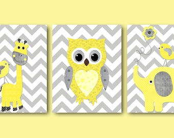 Giraffe Elephant Owl Canvas Art Yellow and Gray Nursery Wall Art Baby Room Decor Baby Nursery Decor Baby Boy Nursery Kids Wall Art set of 3