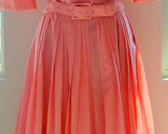 """Vintage Belted Shirtwaist Dress - """"Crisp and Coral"""""""