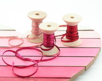 LIMITED EDITION RIBBONS - Valentine's Day Metallic Braided Ribbon 1/8 Inch - 3 Colors- Rose Gold, Fucshia, Red Ribbon