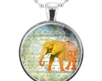 Yellow Elephant Necklace, Gift Ideas For Women, Lucky Jewelry (1061S25MMBC)