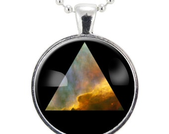 Galaxy Triangle Necklace, Hipster Nebula Jewelry, Universe Pendant (1155S25MMBC)