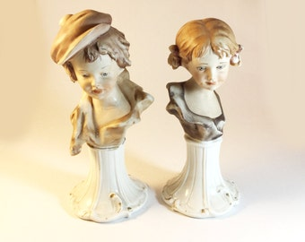 Vintage Nico Venzo Capidimonte Bust of a boy, Bust of a gril, Italian figures on pedestal base, Figurines
