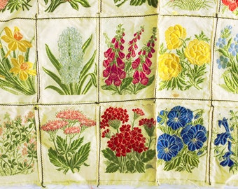 Vintage silk flower panels, Embroidered flowers, Patchwork floral material, Machine stitched, Silk flower panels