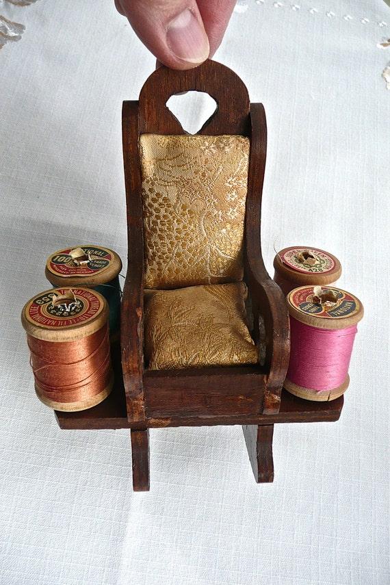 ... chair pincushion sewing supplies spool holder miniature rocking chair