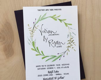 Wreath Wedding Invitation / Calligraphy Wedding Invitation Suite / Olive Wreath Invitation / Botanical Wedding Invitation / Rustic Wreath