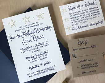 Wedding Invitation Set / Beach Wedding Invitations / Calligraphy Wedding Invites / Preppy Invitation / Navy and Gold Wedding Invitation Set