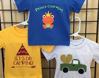 Boys t-shirts, boys tshirts, boy shirt, camping t-shirt, camping shirt, truck, prince charming shirt, frog shirt