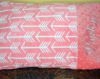 Pillowcase/Minky Coral Archer with Coral Cuddle Dimple Dot on the Cuff