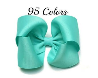 Aqua Hair Bow, Hair Bows for Girls, Hair Bows, 5 inch Hair Bows, Large Hair Bows, Hairbows, Solid Color Hair Bows, Boutique Hair Bows, 500
