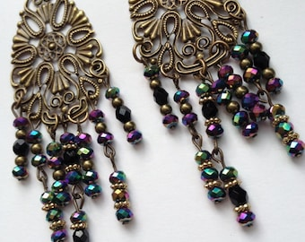 Antique Brass Filigree Chandelier Earrings, Boho Earrings, Hippy Earrings, Long Chandeliers, Rainbow Bead Earrings,OOAK