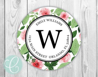 """Rose Floral -  Return Address Labels - 2"""" Round Stickers - Glossy or Matte - Flowers Pink Green Women Girls Watercolor Feminine"""