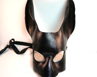 Black Leather Rabbit Mask,  Leather mask,  Bunny,  Halloween, LARP, Theatre, Mardi gras, Cosplay, Fantasy, Rabbit costume. DIY
