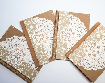 Hand made cards: Blank kraft card stock - doilies - pearls - all occasion cards - set of cards