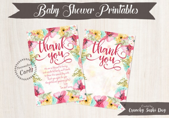 Personalized Baby Shower Thank You Cards, Thank You Cards, Baby Shower, Floral, Party, Baby Shower Decorations, Teal, Pink 001