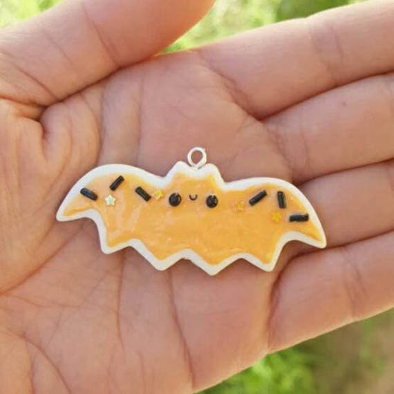 Halloween Bat Sugar Cookie Necklace Charm, Cookie Charm,  Polymer Clay Pendant, BFF, polymer clay, clay pendant, Kawaii, Chibi, Clay Charm