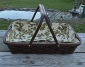 Reserved     Casserole carrier tote basket with handles Walnut wood