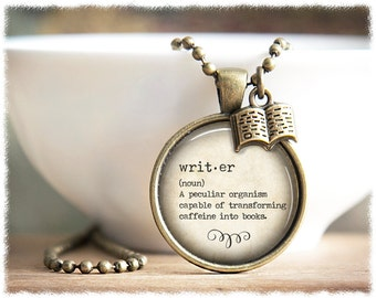 Writer Necklace • Definition Jewelry • Book Necklace • Gifts For Writers • Author Gift • Writer Definition Necklace