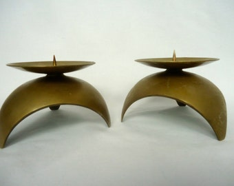 Pair MID CENTURY BRASS Candleholders Modern  Candle Stick Gold Candlesticks Brass Candleholders Modern Brass Candles Made in Japan