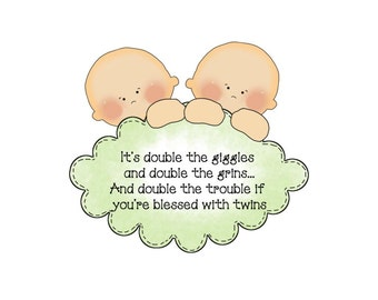 Twins die cut, Scrapbook title, Twins scrapbook title, Scrapbook embellishment, Baby embellishment, twins sayings, twins quotes, twin poem