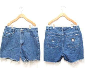 "90s Blue Denim Cut Off Shorts High Waisted Women's 36"" Waist Plus Size"