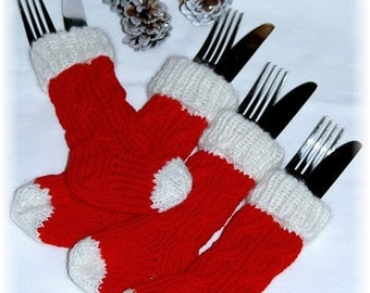 Knit Mini Christmas Stockings, flatware holder, cutlery holder for your Christmas table, table decor - Set of 4 READY TO SHIP