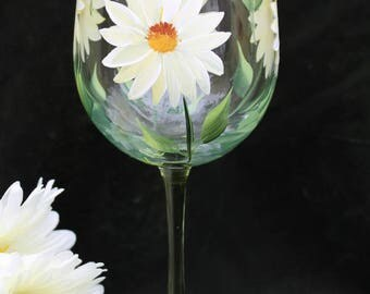 Hand Painted Wine Glasses (Set of 2) - White and Yellow Daisies on Green Stem Glass