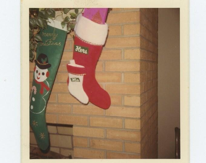 His and Hers Xmas Stockings, 1970 Vintage Snapshot Photo (71545)