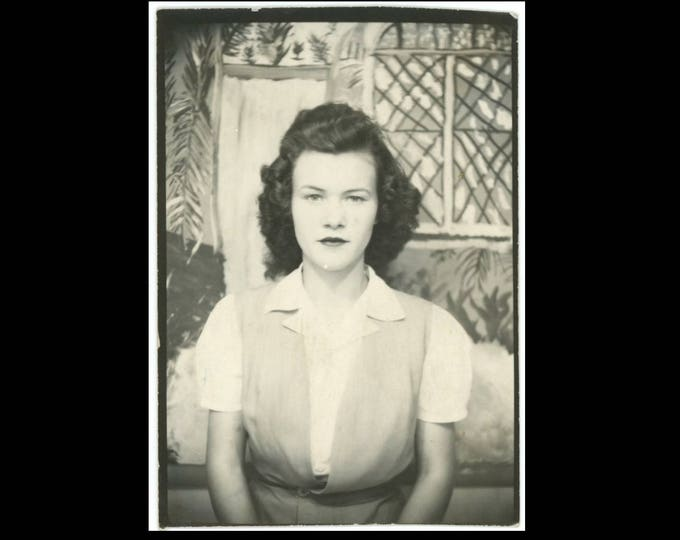 Vintage PhotoBooth Arcade Photo Enlargement, c1940s: Teenage Girl (74571)