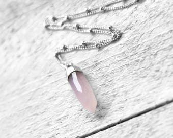 ROSÉ POINT necklace with pink rose quartz   silver