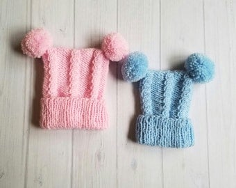 Hand Knit Baby Hat, Knit Baby Cable Hat, Knit Baby Items, Baby Clothes, Knit Square Baby Hat, Baby Shower Gift, Winter Baby Hat